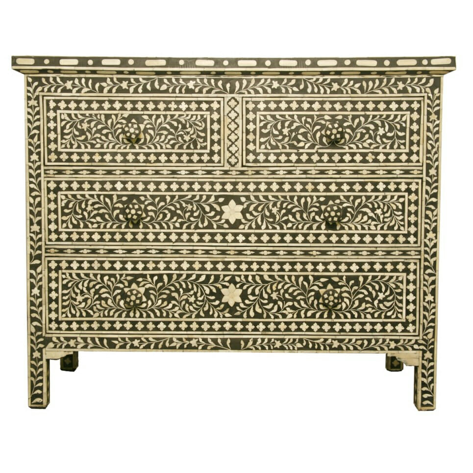 new product 6940d 0cfab Indian Bone InlayBlack Bone Inlay Chest of Drawers