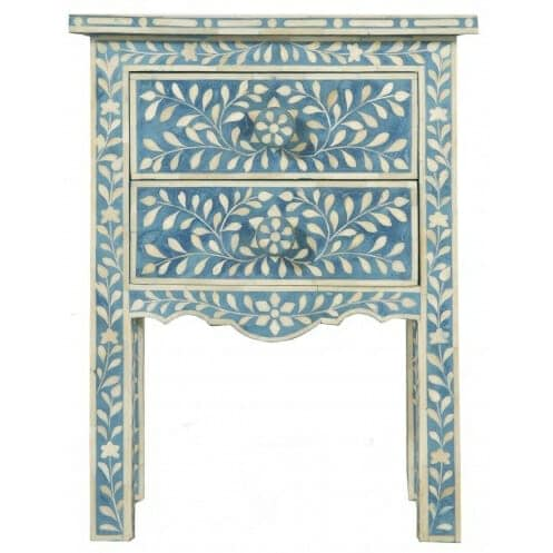 Blue Bone Inlay Bedside Table 2