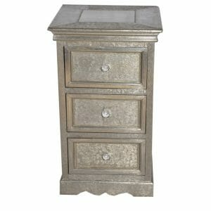 Brushed White Metal 3-Drawer Chest of Drawers (5)
