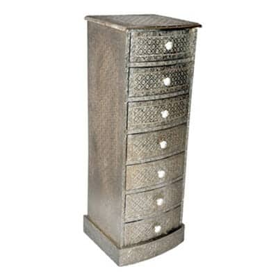 Embossed White Metal 7 Drawer Tallboy Iris Furnishing