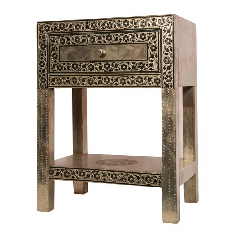 Metallic Embossed Bedside Table Iris Furnishing