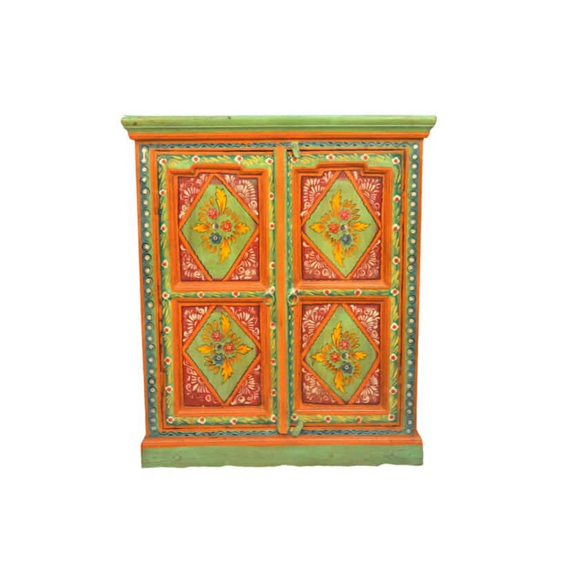 red and green mandala side cabinet iris furnishing