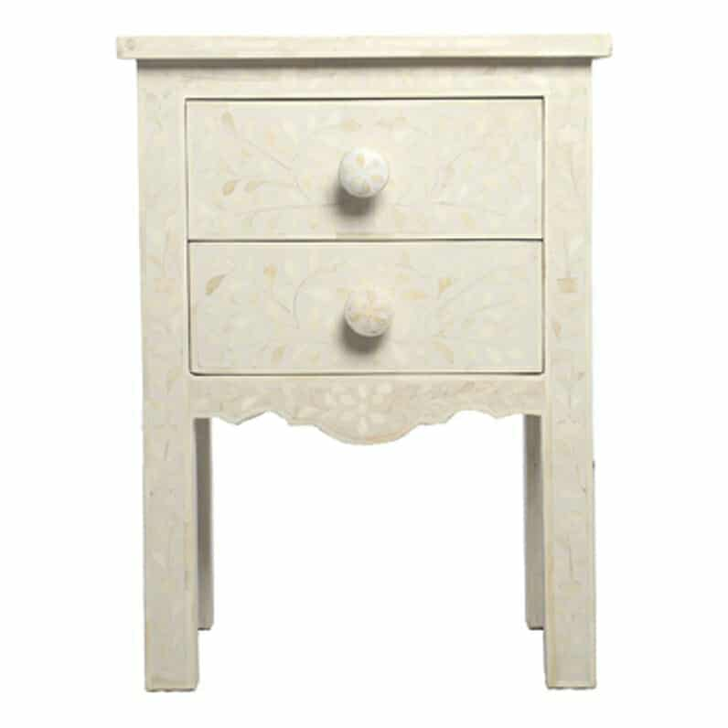 White Bone Inlay Bedside Table 1