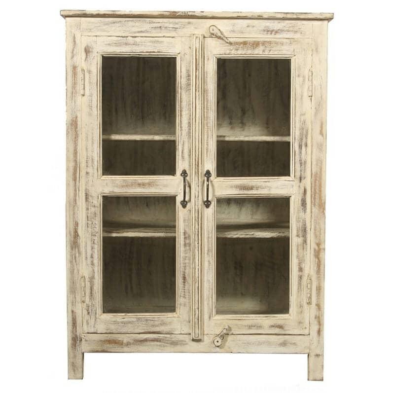 Distressed Kitchen Cabinet Doors: White Distressed Glass Door Cabinet