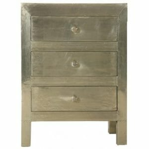 White Metal Bedside Chest
