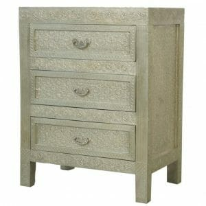 White Indian Metal Bedside Chests For Sale Iris Furnishing Ltd