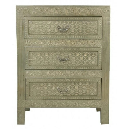 Embossed White Metal Chest Of Drawers Chest Of Drawers
