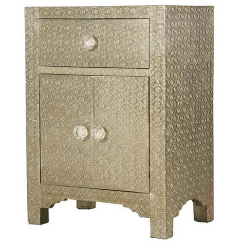 White Metal Embossed Bedside Cupboard Iris Furnishing