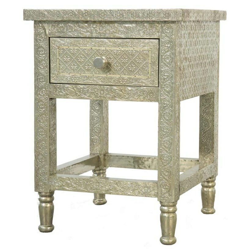 White Metal Embossed Bedside Table 2