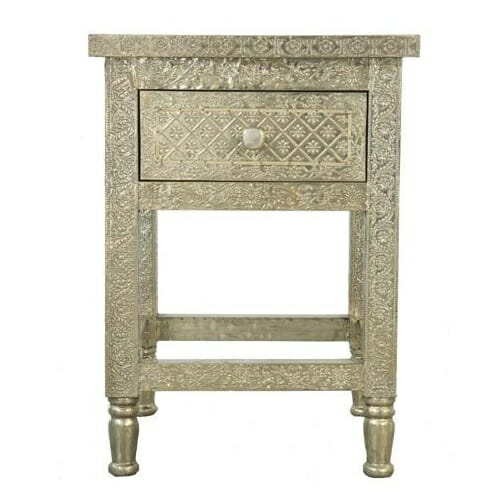 White Metal Embossed Bedside Table Iris Furnishing