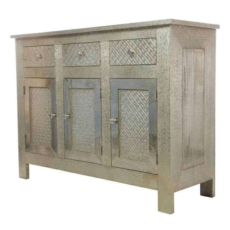 White Metal Embossed Sideboard Iris Furnishing