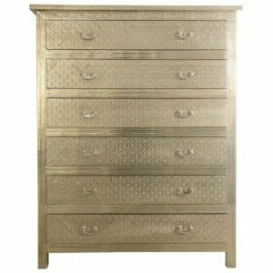 White Metal Embossed Six Drawer Chest