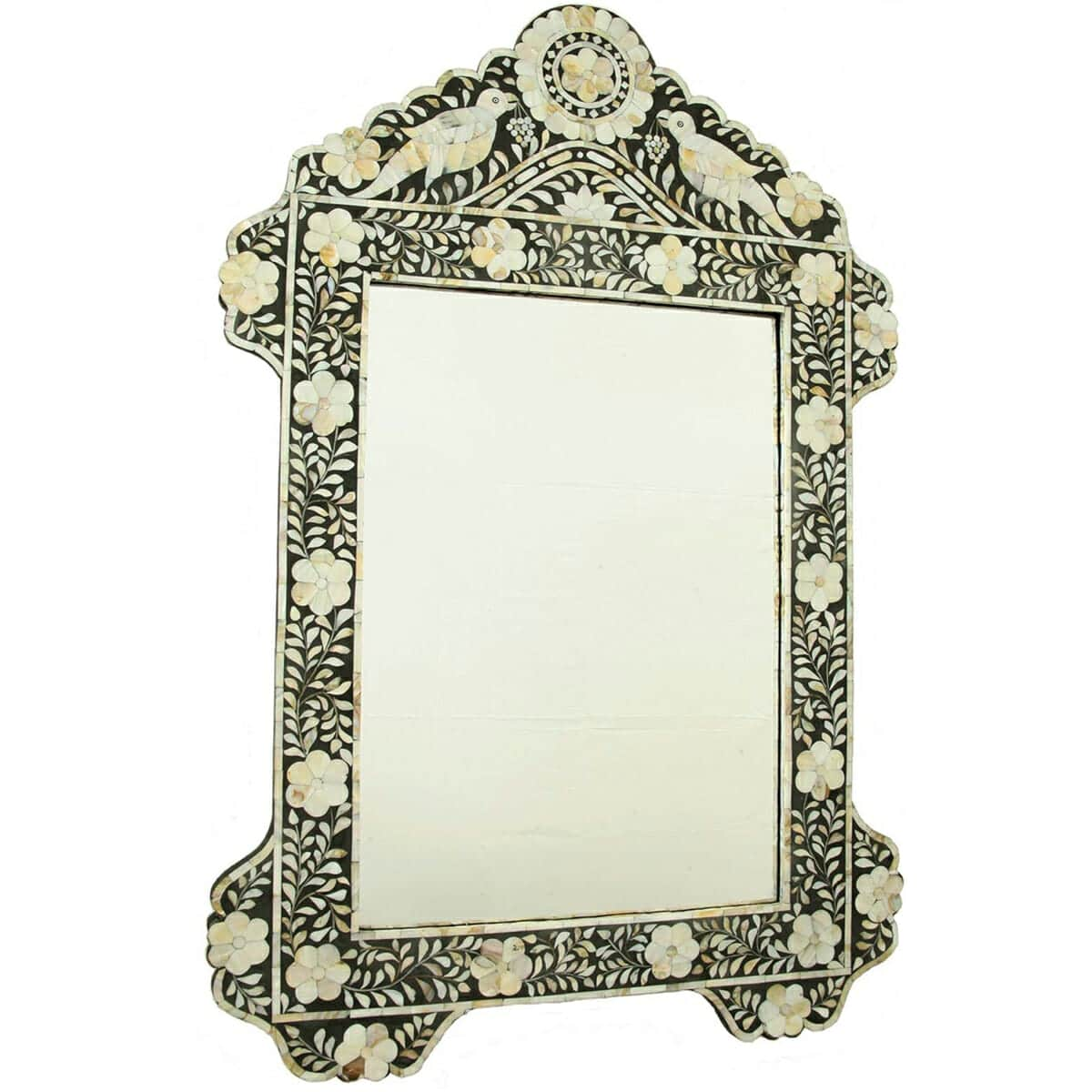 Black Mother Of Pearl Bird Mirror Iris Furnishing