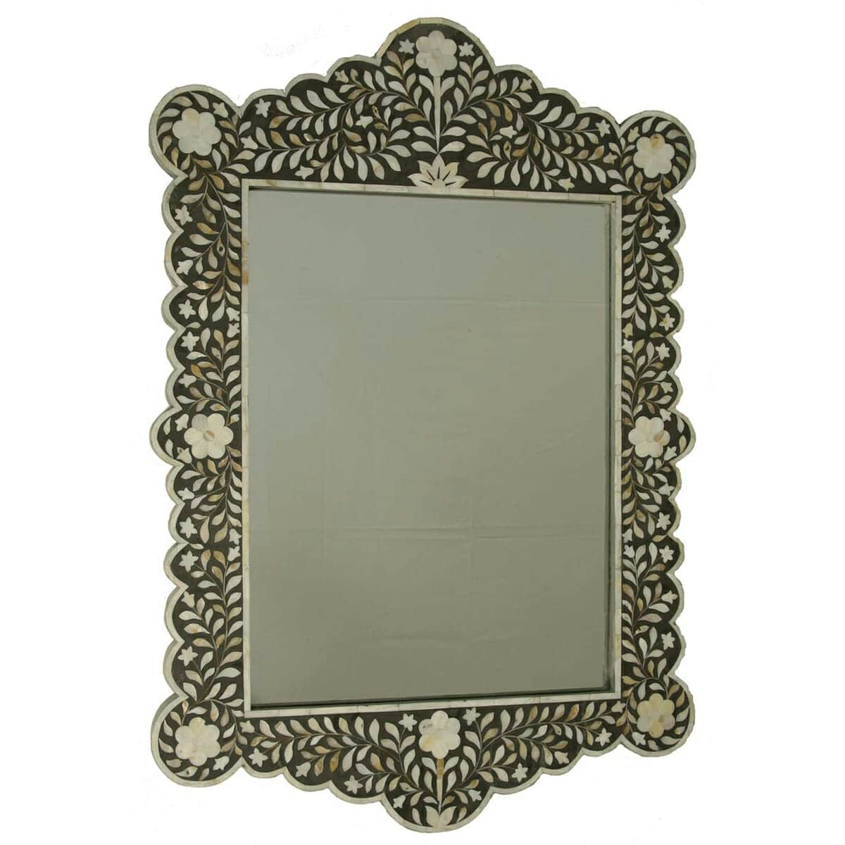 Black Mother Of Pearl Scalloped Mirror Iris Furnishing