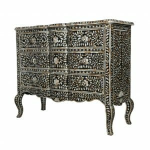 Black Wave Fronted Mother of Pearl Chest of Drawers 2
