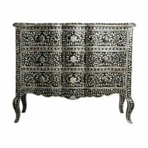 Black Wave Fronted Mother of Pearl Chest of Drawers
