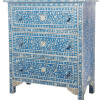 Blue 3-Drawer Mother of Pearl Chest of Drawers