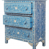Blue 3-Drawer Mother of Pearl Chest of Drawers 2