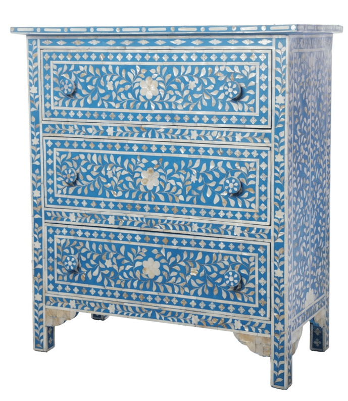 Blue 3 Drawer Mother Of Pearl Chest Of Drawers Iris