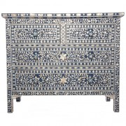 Dark Blue Mother of Pearl Chest of Drawers