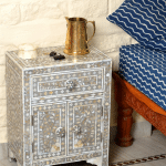 Grey Mother of Pearl Bedside Cupboard 4