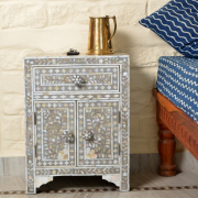 Grey Mother of Pearl Bedside Cupboard 5
