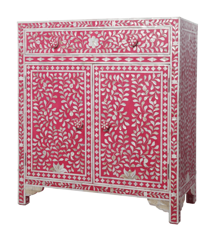 Pink Mother Of Pearl Cabinet 1