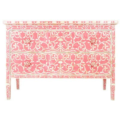 Pink Mother Of Pearl Two Drawer Chest Iris Furnishing