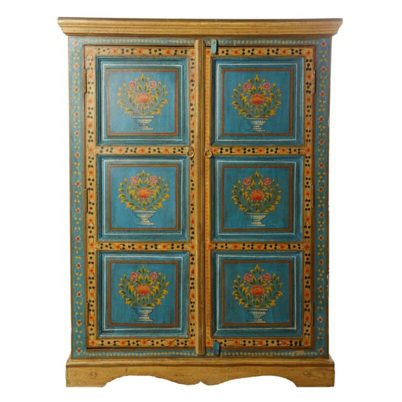 Turquoise Blue Painted Panel Cupboard