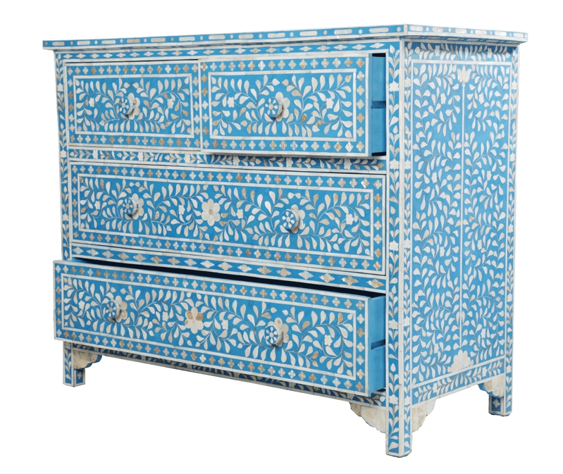 Greatest Turquoise Mother of Pearl Chest of Drawers | Iris Furnishing QB39
