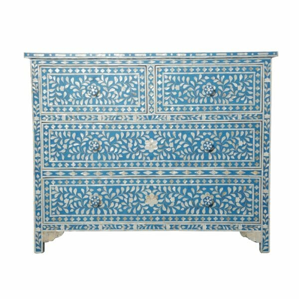 Turquoise Mother of Pearl Chest of Drawers