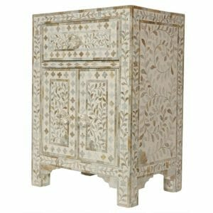 White Mother of Pearl Bedside Cupboard 2