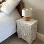 White Mother of Pearl Bedside Cupboard 4