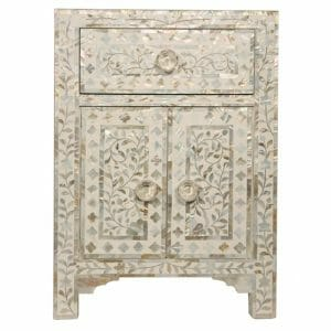 White Mother of Pearl Bedside Cupboard