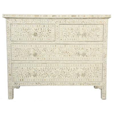 White Mother Of Pearl Chest Of Drawers
