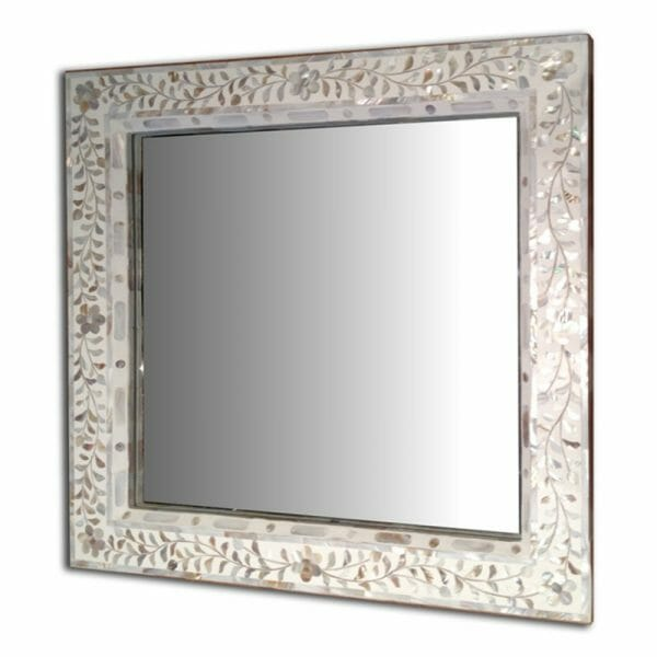 White Mother Of Pearl Square Mirror Iris Furnishing