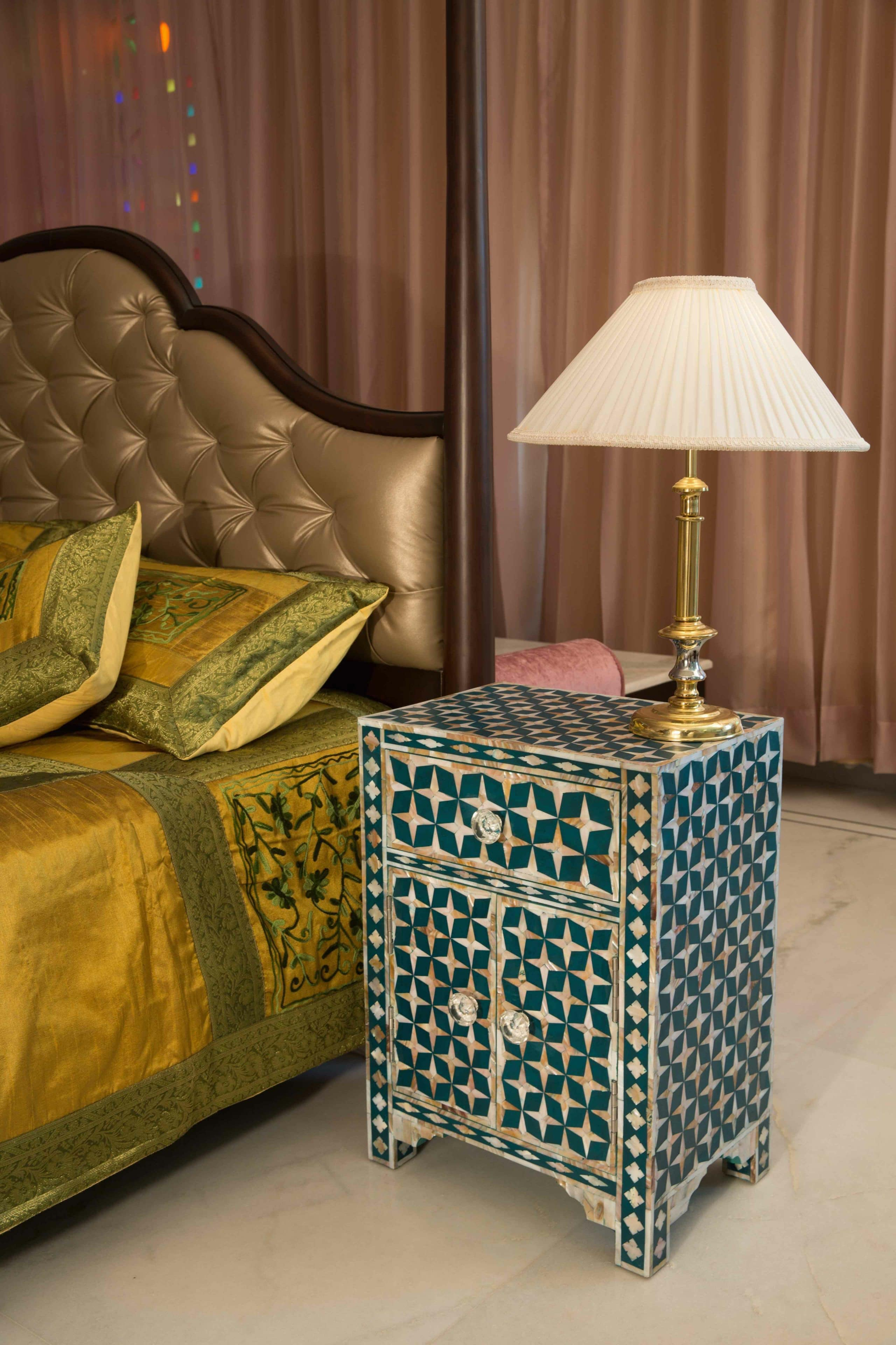 Teal Mother Of Pearl Star Bedside Iris Furnishing