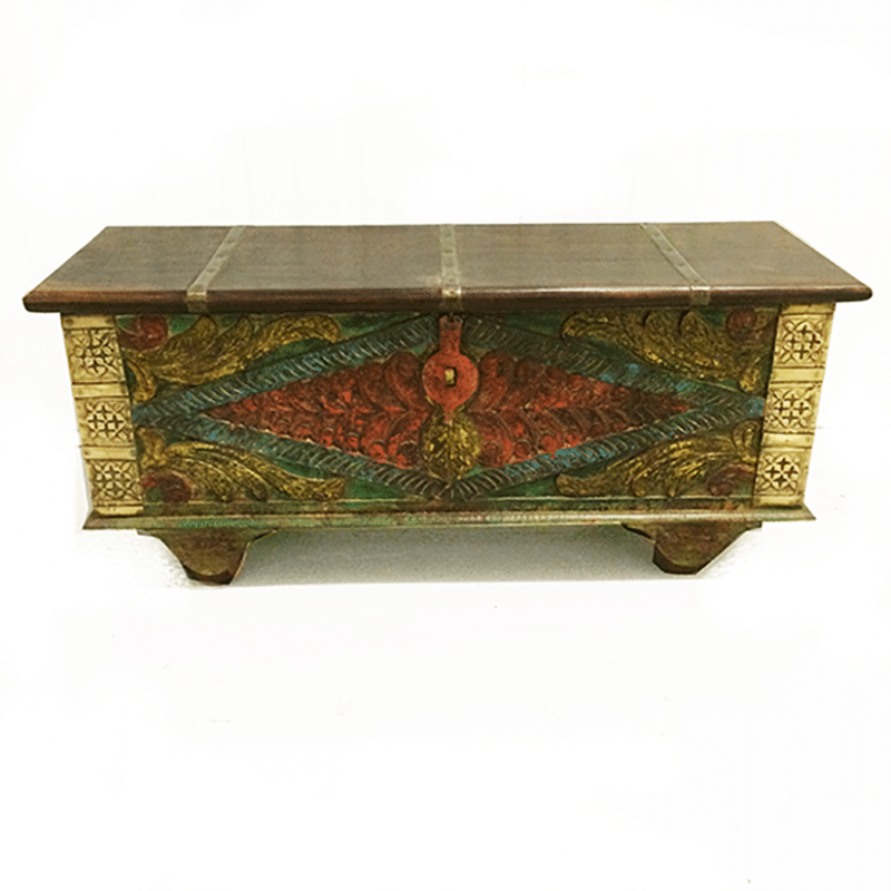 Indian Painted Storage Trunk Iris Furnishing