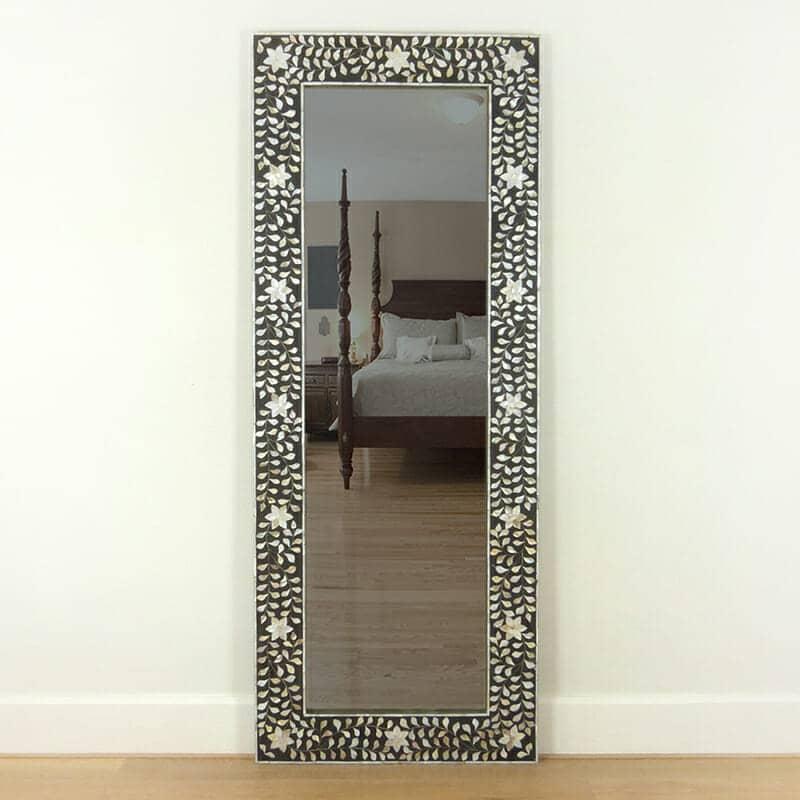 Black Mother of Pearl floor mirror | Iris Furnishing