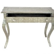 Embossed White Metal French console table 03