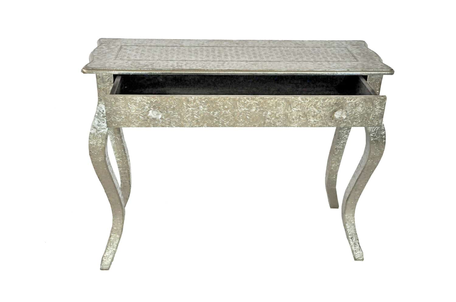 Embossed White Metal French Console Table Iris Furnishing
