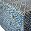 Chest of 7 drawers in Blue bone Geo flower inlay close